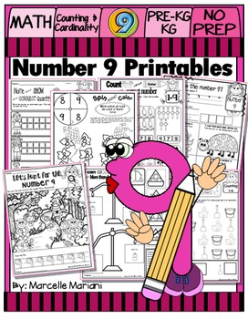 Number 9  Math Worksheets-NO PREP- Counting and Cardinality CCSS