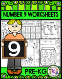 Number 9  Math Worksheets-NO PREP (PRE-KG EDITION)-Counting and Cardinality CCSS
