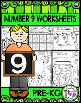 Number 9  Math Worksheets-NO PREP (PRE-KG EDITION)-Countin
