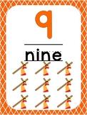 Number 9 Printable Bible Number Poster. Preschool-Kindergarten Numbers.