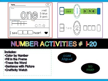 Number Activities {Craftivity} Common Core #1-20