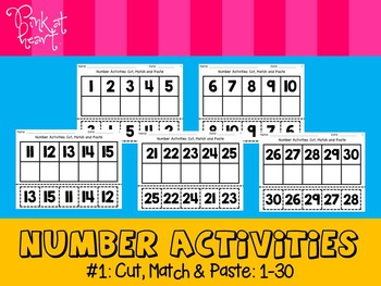 Number Activities - Cut, Match and Paste (1-30)