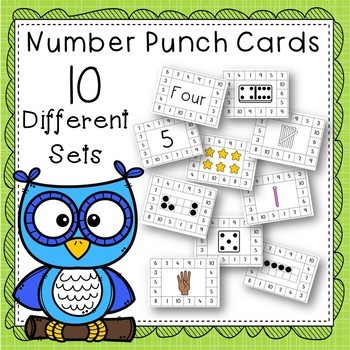 Number Activity: 1-10 Punch Cards
