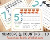 Number Activity Mats 1-10 - Counting, Tracing - Math Worksheets
