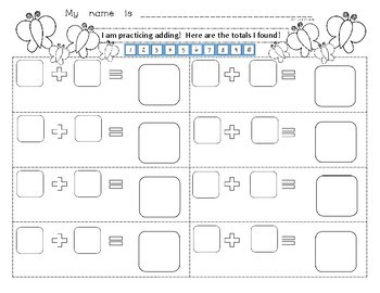 Number Addition to 10 Dice Game! Butterfly Theme