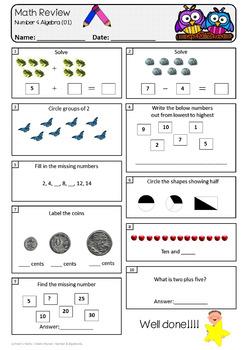 Number & Algebra - Review Worksheets