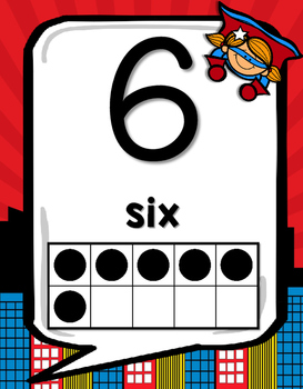 Number & Alphabet Posters with 10 Frames Numbers 0-20 (Superhero Theme)