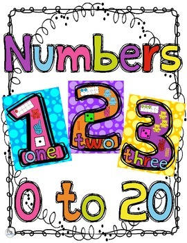 Number Anchor Charts 0 - 20 Color Posters