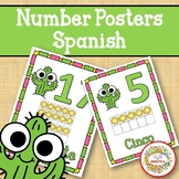 Number Anchor Charts 0 to 20 with Ten Frames -  Cactus Spanish