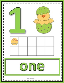 Number Anchor Charts 0 to 20 with Ten Frames -  Easter
