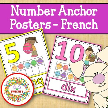 Number Anchor Charts 0 to 20 with Ten Frames -  Easter - French