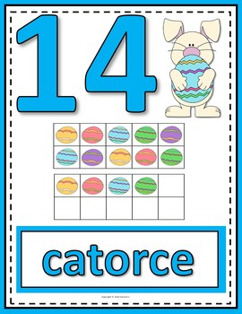 Number Anchor Charts 0 to 20 with Ten Frames -  Easter - Spanish