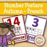 Number Anchor Charts 0 to 20 with Ten Frames - Fall or Autumn Theme - French