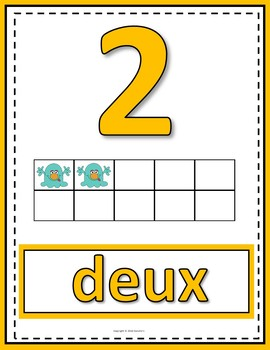 Number Anchor Charts 0 to 20 with Ten Frames Monster Theme - French
