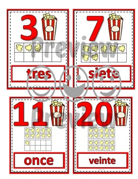 Number Anchor Charts 0 to 20 with Ten Frames - Popcorn - Spanish