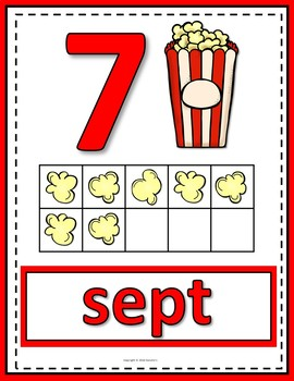 Number Anchor Charts 0 to 20 with Ten Frames - Popcorn - French