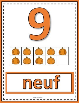 Number Anchor Charts 0 to 20 with Ten Frames Pumpkin Autumn Theme - French