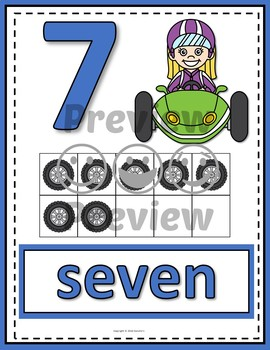 Number Posters 0-20 with Ten Frames -  Race Cars