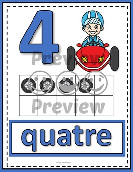 Number Anchor Charts 0 to 20 with Ten Frames -  Race Cars French