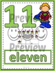 Number Anchor Charts 0 to 20 with Ten Frames -  Super Hero