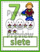 Number Anchor Charts 0 to 20 with Ten Frames -  Super Hero Spanish