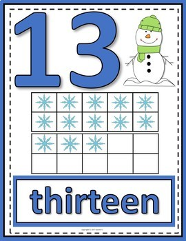 Number Anchor Charts 0 to 20 with Ten Frames -  Winter
