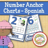 Number Anchor Charts  0 to 20 with Ten Frames - Winter - Spanish