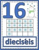 Number Anchor Charts  0 to 20 with Ten Frames - Winter - Spanish - Los Números
