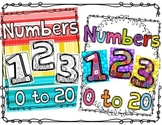 Number Anchor Charts Bundle Color and Black and White Printables 0 - 20