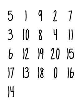 Number Assessment 0 -20