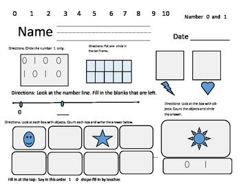 Number Assessment 0 and 1