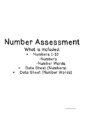 Number Assessment Cards and Data Sheets