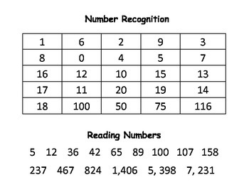 Number Assessment for #'s 1-120