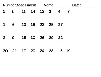 Number Assessment #'s 11-30