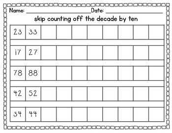 Number Assessments (Common Core) Recording, Counting Backwards, Skip Counting