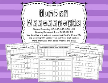 Number Assessments (Common Core) Recording, Counting Backw