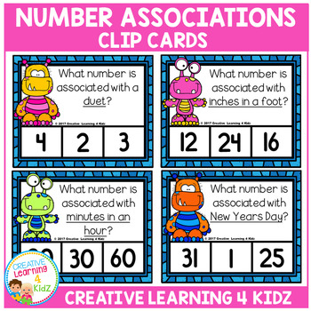 Number Associations Clip Cards