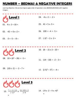 Number - BEDMAS BIDMAS - Order of operations (including negative integers)