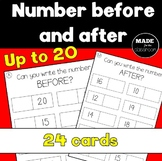 Number BEFORE and AFTER up to 20