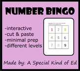 Number BINGO (differentiated and minimal prep!) Great for