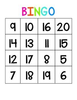 Number BINGO {{Numbers 5-20}}