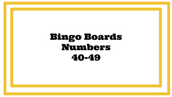Number Bingo Game 40-49