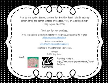 Number Banner 1-100 Black and White Polka Dots