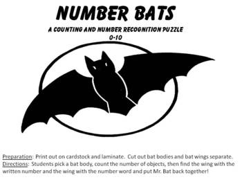 Number Bats - counting and number recognition puzzle