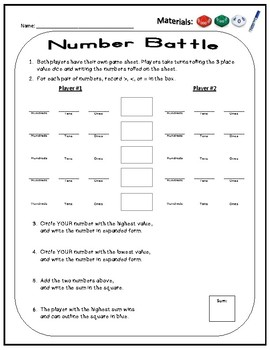 Number Battles Place Value Game Comparing 3 Digit Numbers