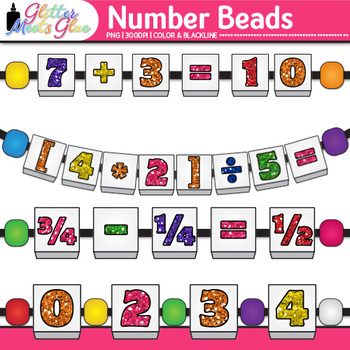 Number Bead Clip Art {Counting and Sorting Manipulatives for Math Centers}