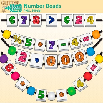 Number Bead Clip Art | Counting and Sorting Manipulatives for Math Centers