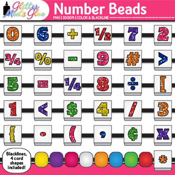 Number Bead Clip Art: Counting and Sorting Math Graphics {Glitter Meets Glue}