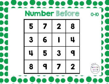 Number Before & After Bingo 0-10 and 10-30