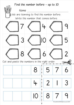Number Before to 10,20 and 50 Worksheet Pack